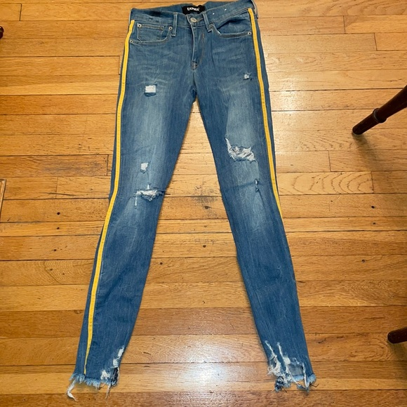 EXPRESS ANKLE LEGGING MID RISE SIDE STRIPE JEANS 0